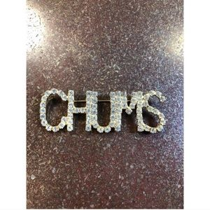 Chums Gold Rhinestone Brooch